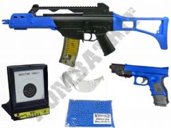 British Police BB Gun Bundle Spring G36 & Glock Replica + Pellets & Target Set 2 Tone Blue Black